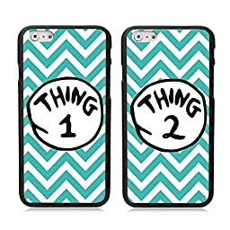 iPhone 6 6S Case, Kitron (TM) 2 X Cute Blue Waves Thing 1 2 Design Lovers Couple Best Friends TPU Frame Hard Back Case Cover Skin For 4.7\