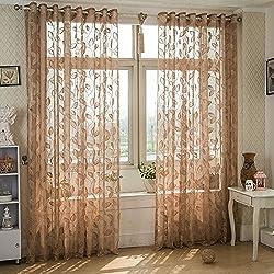 Fenta Flower Elegant Tulle Home Door Window Curtain Drape Panel Sheer Scarf Decor Valances