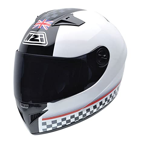 NZI 050261G211 Must BNR Casque de Moto, Blanc/Noir/Rouge, Taille : S