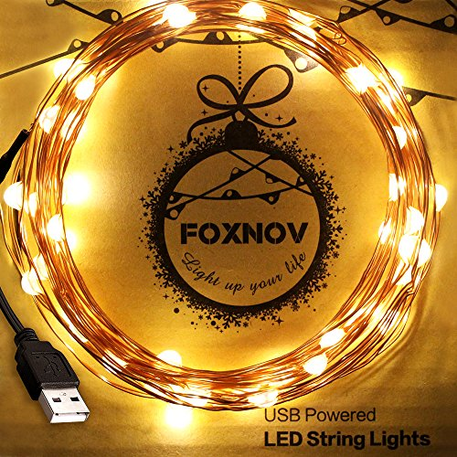 FOXNOV-164-Feet-Waterproof-USB-LED-String-Lights-Warm-White-Pack-of-2