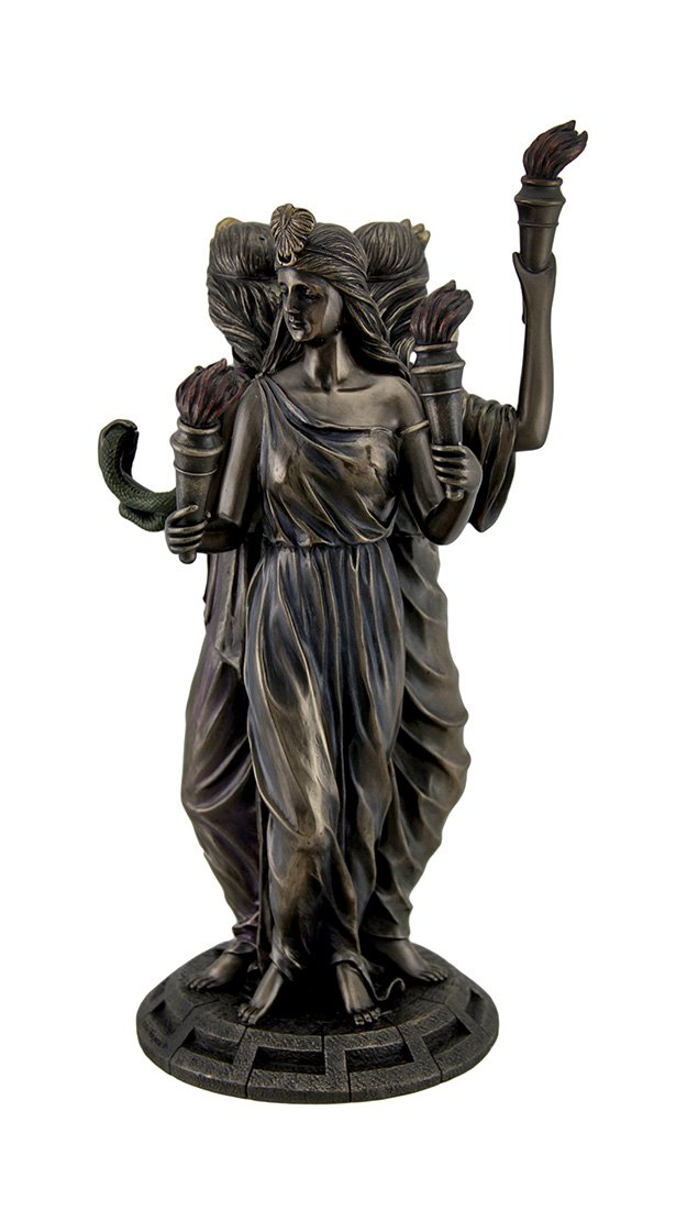 Resin Statues Large Bronze Finish Greek Goddess Hecate Triple Goddess Statue Figurine 7 X 11.75 X 7 Inches Bronze