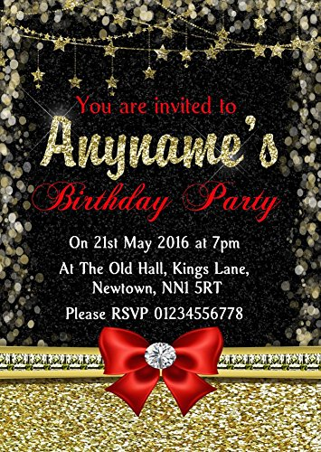 Glitter Look Gold Red Bow Birthday Party Personalized Invitations