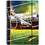 """Brunnen Schülerkalender """"Fußball"""" - Format: A5 - 2016/2017 - Ringbindung/Spiralbindung - mit Gummizug - PP-Einband"""