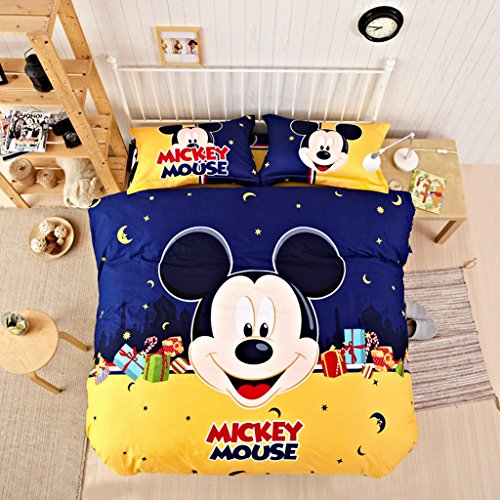 CASA Children 100% Cotton Mickey Series Mickey Duvet cover & Pillow cases & Sheet,Duvet cover set,3 Pieces,Twin
