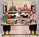 ひな人形 九番三五揃黒金色桜刺繍三段飾り o1