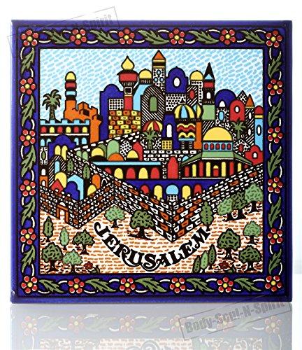 Jerusalem Armenian Colorful Wall Hanging Artistic Ceramic Tile Kabbalah Jewelry
