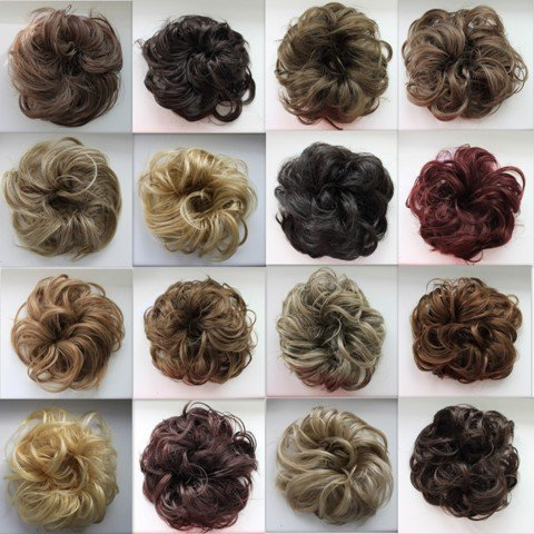 PRETTYSHOP Scrunchie Bun Up Do Hair piece Hair Ribbon Ponytail Extensions Wavy Curly or Messy Various Colors(brown 18) (Hair Ties Real Hair compare prices)