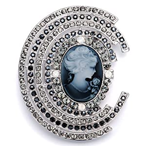 Pugster Vintage Gray Crystal Elegant Victorianes Brooches And Pins