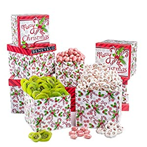 Merry Christmas, Deluxe Peppermint Pretzels, Dried Kiwi Fruit, and Candy Cane Almonds, Christmas Gift Tower