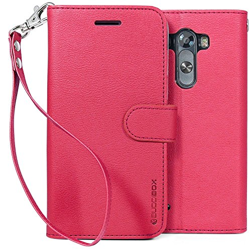 LG G3 Case, BUDDIBOX [Wrist Strap] Premium PU Leather Wallet Case with [Kickstand] Card Holder and ID Slot for LG G3, (Pink) (Wallet For Lg G3 compare prices)