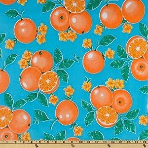 Oil Cloth Oranges Light Blue Fabric