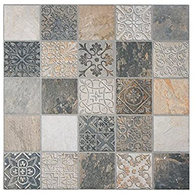 "SomerTile FGFDECCA Caldazer Décor Ardesano Porcelain Floor and Wall Tile, 17.5"" x 17.5"", Grey/Beige/White"