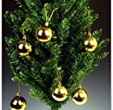 12PCS Golden Balls Christmas Trees Ornaments Hanging Decorations Baubles Vintage Shiny 60mm