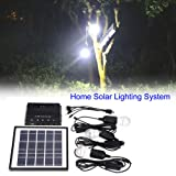 GOTOTOP 4W Outdoor Solar Power Panel 3 LED Bulbs Lamp Charger Garden Home Mobile Light System Kit (Color: Black)