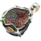 Ana Silver Co Titanium Geode 925 Sterling Silver Pendant 1 1/4