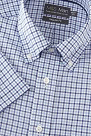 Pure Cotton Short Sleeve Easy to Iron Checked Shirt [T11-7914-S]