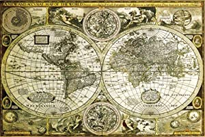 (24x36) World Map - Historical Educational Poster Print