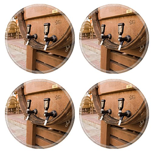 Luxlady Round Coaster close up of barrel with wine IMAGE ID 4619346