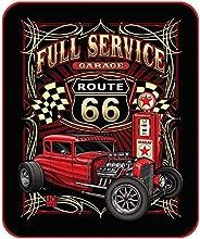 Route 66 Full Service Garage Hot Rod Queen Size Plush Raschel Fleece Blanket