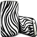 HTC Desire C Pull Tab Zebra Case PU Leather Pocket Pouch Cover in WHITE (S)