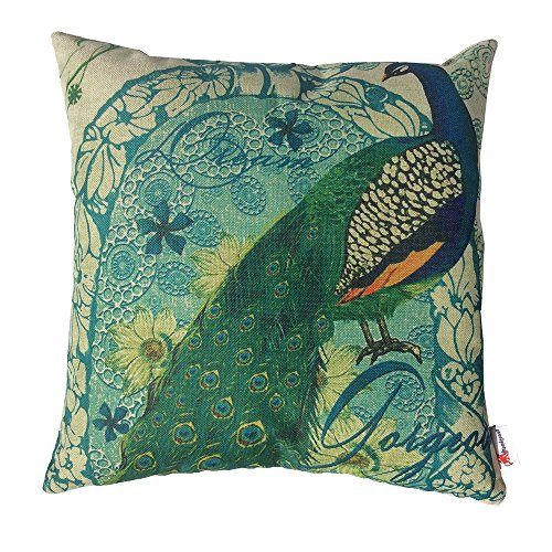 Monkeysell Peacock Pattern Vintage Cotton Linen Square Throw Pillow Case Decorative Cushion Cover Pillowcase Cushion Case for Sofa,Bed,Chair18 X 18 Inch (S018C1) (Extra Long Queen Comforter compare prices)