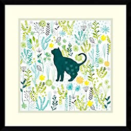 Framed Art Print, \'Cats in the Garden I\' by Lamai McCartan: Outer Size 19 x 19\
