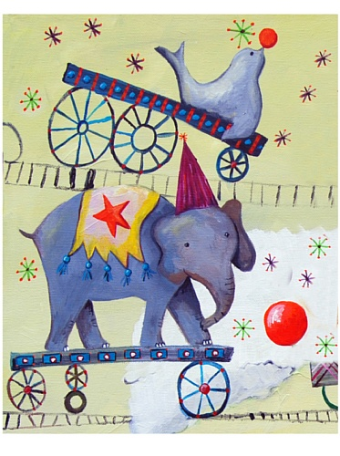 "Cici Art Factory 8"" x 10"" Circus Train, Elephant"