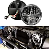 """Opar 7"""" Inch Round LED Headlights High/Low Beam for Jeep Wrangler CJ JK TJ 97-2015 Motorcycle Offroad Vehicles - Pair"""
