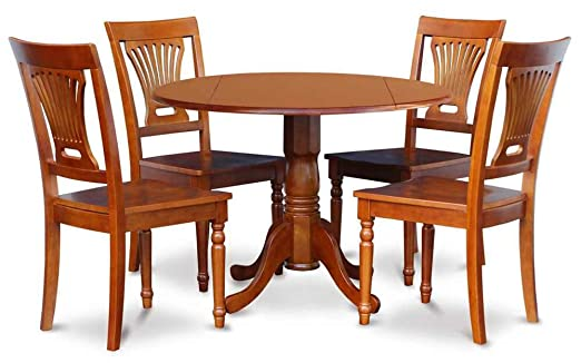 5-Pc Round Dinning Set in Brown FInish