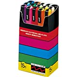 Uni-posca Paint Marker Pen - Fine Point - Set of 15 (PC-3M15C) (Color: red,blue,yellow, Tamaño: 1-pack)