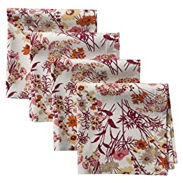 "Product Image Home Floral Napkin Set of 4 - Red (20x20"")"