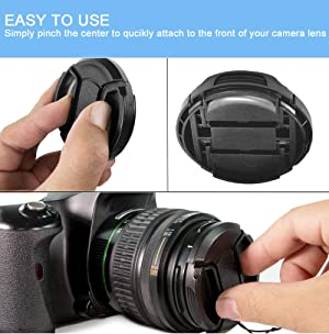 49mm Lens Cap [3 Pack], HonesThing 49mm Camera Lens Protection Cover with 3 Lens Cap Keepers compatible with Canon, Nikon, Sony and any other DSLR Camera (Color: 49mm)