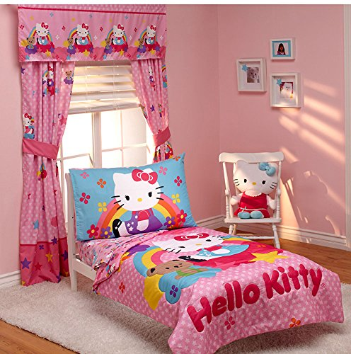 Hello-Kitty-Stars-and-Rainbows-4-piece-Toddler-Bedding-Set