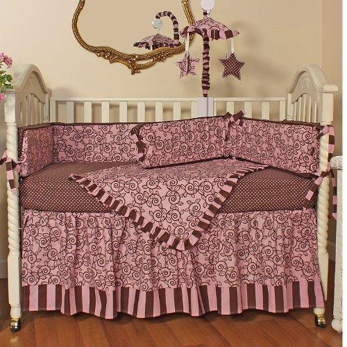 Hoohobbers 4-Piece Crib Bedding, Whirly Pink