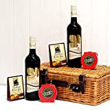'Winter Warmer' - Luxury Mulled Wine Hamper Wicker Basket with 2 Bottles of Broadleaf Red Wine, Christmas Puddings & Traditional Mulled Wine Spice Kits by Fine Food Store - Xmas Luxury Corporate Gifts Presents