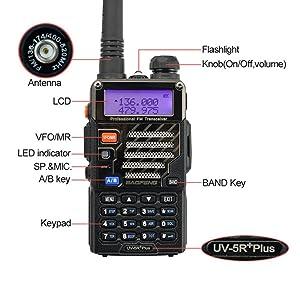 Baofeng UV-5R+ Plus UHF VHF Long Range Dual Band Ham Two Way Radio Black (Color: Black)