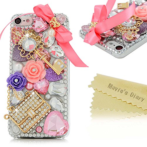 Touch 5 Case,iPod Case - Mavis's Diary 3D Handmade Bling Crystal Lovely Pink Bow Golden Key Bag Crown with Colorful Diamonds Gems Flowers Pearls Clear Hard PC Cover for iPod Touch 5th Generation (Ipod 5 Cases Pink Gems compare prices)