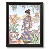 Japanese Girl Woman In Garden Asian Contemporary Home Decor Wall Picture Black Framed Art Print