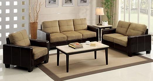 Furniture of America Laverne I Microfiber Loveseat, Taupe and Espresso
