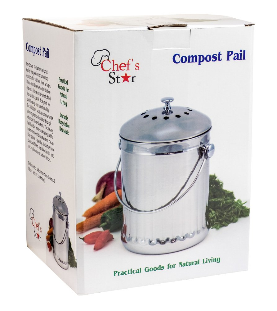 Chefs Star Stainless Steel Compost Bin 1 Gallon