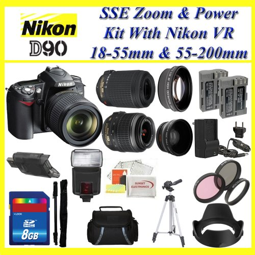 Nikon D90 SLR Digital Camera with 18-55mm VR Lens and 55-200mm VR Lens + Huge Battery, Lens & Tripod Complete Accessories Package (Everything you Need)
