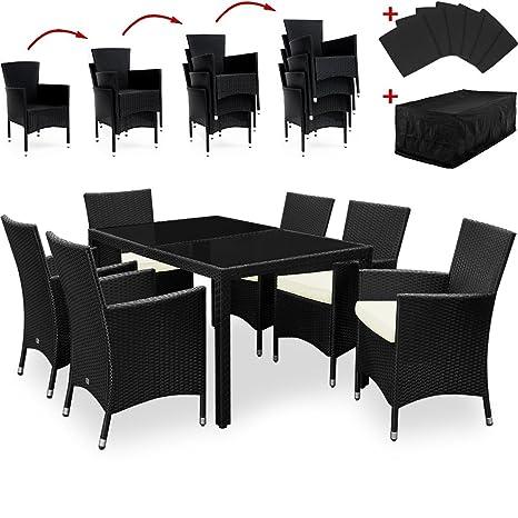 Polyrattan Sitzgruppe aus wetterbeständigem Aluminium 6+1 mit Tischplatten Sitzgarnitur Gartengarnitur inkl. Sitzkissen