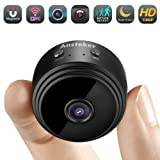 Mini Camera WiFi,Ansteker 1080P Hidden Camera Wireless Portable Home Security Small Cameras/Nanny Cam with Motion Detection/Night Vision(Up to 128G(New-Black) (Color: New-black)
