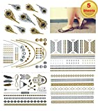 Metallic Gold Silver Black Jewelry Inspired Temporary Bling Tattoo All-In-One Package 5 Sheets (Style#4)