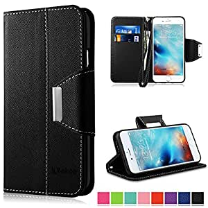 iPhone 6s Case , iPhone 6 Case , Vakoo [Wallet Series] iPhone 6s Case [TPU Back] [Magnetic Closure][Card Slots][Hand Strap] Flip PU Leather Cover Stand Case for Apple iPhone 6s 6 ,Black