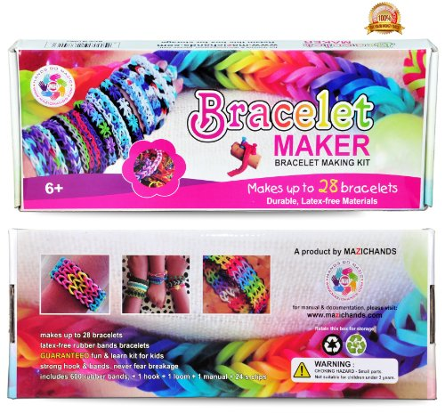 Rubber Band Bracelet Kit - Friendship Bracelets Making Rainbow Loom Jewelry Maker Kits For Girls Kids