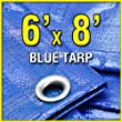 Grizzly Tarps GTRP68 6-Feet X 8-Feet Blue Multi-Purpose 6ml Waterproof Poly Tarp Cover with Tent Shelter Camping Tarpaulin by Grizzly Tarps
