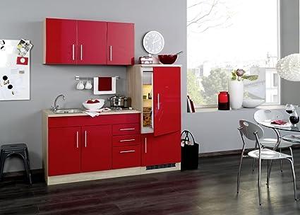 Single Kuche 180 cm Hochglanz Rot mit Geräten und Spule Vancouver