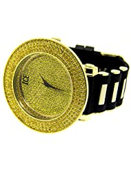 New Men 24k gold plated 4 row bling bling hip hop watch big heavy large mans urban fashion designer