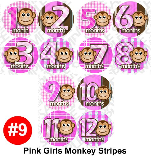 Milestone Stickers - 12 Stickers, PINK MONKEY STRIPE Onesie Stickers Baby Shower Gift Photo Shower Stickers, Baby month stickers photo props by OnesieStickers